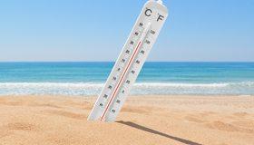 Картинка: Градусник, градус фаренгейта, градус цельсия, небо, море, песок, пляж, жара, лето, день, солнце, тень