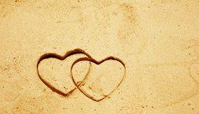 Картинка: Сердечки, песок, рисунок, пара