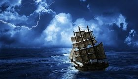 Картинка: Корабль, парусник, паруса, мачта, волны, вода, море, океан, небо, облака, молния, шторм