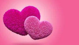Картинка: Сердечки, два, пушистый, розовый