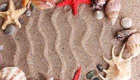 Картинка: Песок, рисунок, волны, ракушки, звёзды, камни, отдых, лето