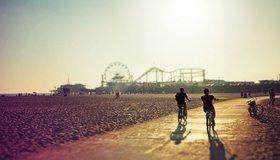 Картинка: Прогулка, велосипед, дорога, пара, отдых, тень, закат