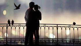 Картинка: Пара, парень, девушка, мост, свидание, романтика, ночь, голуби, блики