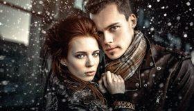 Картинка: Девушка, мужчина, взгляд, пара, снег, шарф