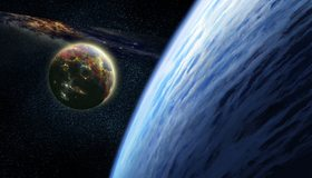 Картинка: Планета, спутник, космос, атмосфера