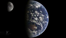 Картинка: Земля, планета, Луна, спутник, Earth, Moon, голубой шар, космос
