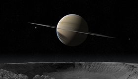 Картинка: Планета, гигант, газовый шар, Сатурн, кольца, спутники, космос, поверхность, кратер, камни