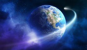 Картинка: Фантастика, планета, Земля, континент, комета, хвост, облака, космос