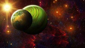 Картинка: Планеты, газовая, каменная, космос, звезда, звёзды, свет, туманность