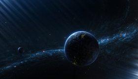 Картинка: планета, туманность, свет, огни, звёзды, космос