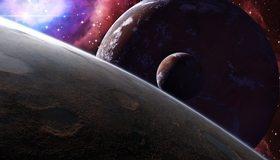 Картинка: Планеты, спутники, космос, звёзды, туманность, атмосфера, земля, кратеры, поверхность
