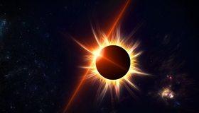 Картинка: Космос, Солнце, звезда, небесное тело, затмение, луч, корона