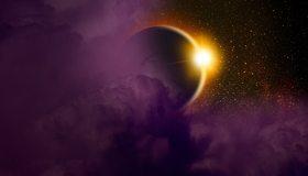 Картинка: Планета, свет, солнце, облака, звёзды, космос