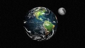 Картинка: Земля, материки, Луна, Спутник, планета, звёзды, космос