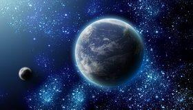 Картинка: Планета, Земля, спутник, Луна, свет, атмосфера, звёзды