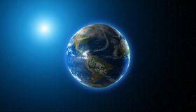 Картинка: Планета, голубой шар, Земля, солнце, свет, материки, континенты