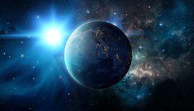 Картинка: Планета, вселенная, огни, звёзды, блики, мерцания, пыль