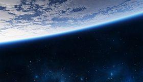 Картинка: Планета, Земля, атмосфера, свечение, звёзды, космос