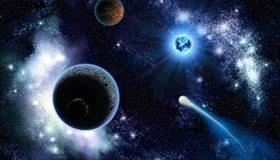 Картинка: Планеты, комета, звёзды, звезда, свет, сияние, голубой карлик