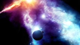 Картинка: Планета, солнце, Земля, свет, звёзды, лучи, спутник, Луна