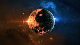 Картинка: Планеты, звёзды, туманность, Инь и Янь