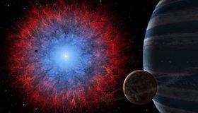 Картинка: Сверхновая, взрыв, планеты, туманность, глаз, звезда