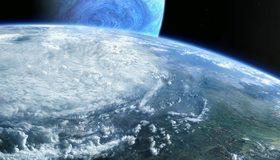 Картинка: Планеты, атмосфера, континенты, земля, облака, суша