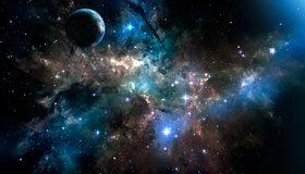 Картинка: Планета, космос, звёзды, туманность, газовая пыль