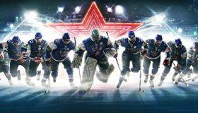 Картинка: Хоккей, команда, клуб, СКА, звезда, лёд, вратарь, клюшки, форма
