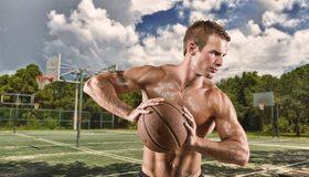 Картинка: Спортсмен, мяч, мужчина, мышцы, площадка, игра, баскетбол, небо, облака