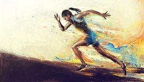 Картинка: Спортсменка, бег, скорость, рисунки