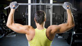Картинка: Упражнение, сила, мышцы, мужчина, тренажёрный зал, спортзал, перчатки