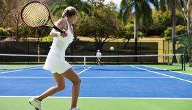 Картинка: Теннис, теннисистка, девушка, мяч, корт, сетка, спортсменка, взмах