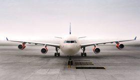 Картинка: Самолёт, Airbus, A340, пассажирский, крылья, двигатели, площадка, аэродром, туман