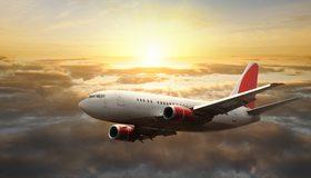 Картинка: Самолёт, летит, небо, облака, горизонт, солнце