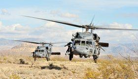 Картинка: Военный вертолёт, Sikorsky UH-60 Black Hawk, Чёрный ястреб, лопасти, летит, тень, ветки