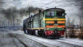 Картинка: Поезд, железная дорога, рельсы, провода, дым, копоть, зима, снег, машинисты