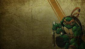 Картинка: Черепашка, Микеланджело, ниндзя, нунчаки, оружие, текстура