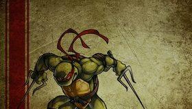Картинка: Черепашка, ниндзя, Рафаэль, повязка, красный, злой, текстура, зелёный, золотистый, линия, оружие, саи