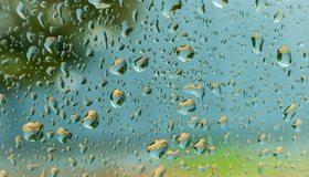 Картинка: Капли, вода, стекло, размытый фон