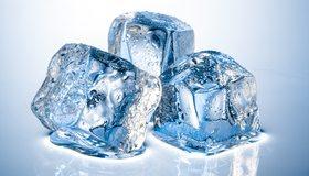 Картинка: Лёд, вода, капли, тают, три, кубики, отражение