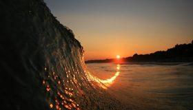 Картинка: Волна, вода, море, океан, закат, небо, вечер