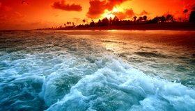 Картинка: Остров, пальмы, вода, пена, закат