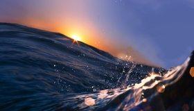 Картинка: Вода, море, океан, волны, брызги, капли, солнце, небо