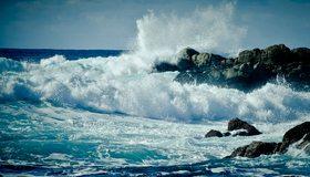 Картинка: Вода, море, океан, волны, брызги, капли, скалы, камни, небо, горизонт