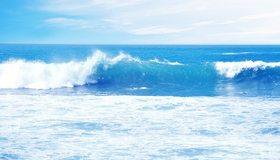 Картинка: Море, голубое, вода, волна, пена, небо, горизонт