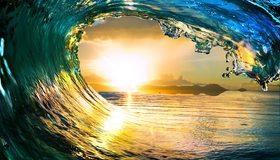 Картинка: Волна, вода, море, солнце