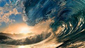 Картинка: Волны, вода, океан, брызги, солнце, закат, небо, облака