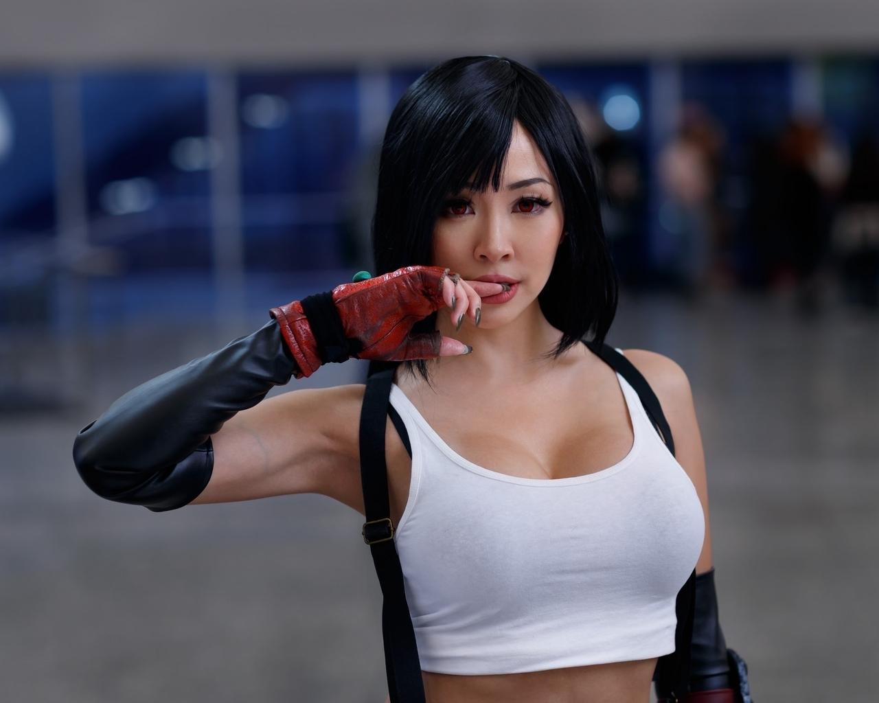 Картинка: Девушка, азиатка, костюм, косплей, Тифа Локхарт, Final Fantasy VII