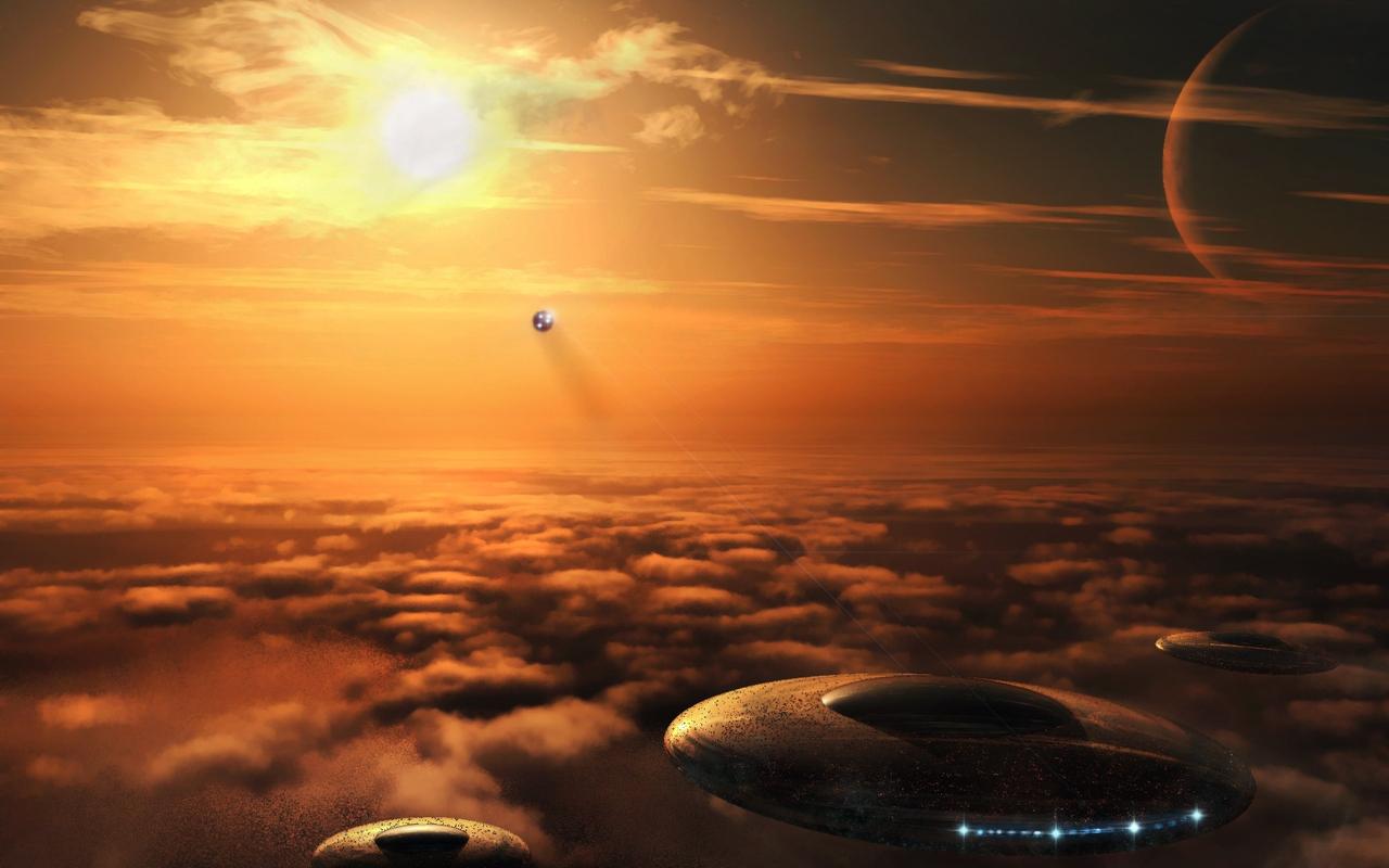 Картинка: Небо, облака, нло, тарелки, солнце, планета